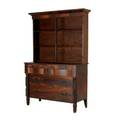 Empire stepback cupboard twopiece in mahogany 19th c missing doors 71 x 48 x 19
