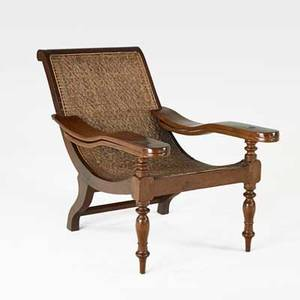 British colonial plantation chair mahogany frame with cane seat and foot rests 19th c 36 x 27 12 x 48