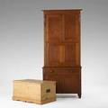 Country furniture maple and pine dropfront secretary desk together with pine blanket chest mid 19th c desk 86 34 x 38 12 x 20