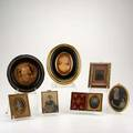 Framed miniatures seven pieces 19th20th c elizabethan portrait miniature tintype dagguerreotype cdvfaux shell cameo and composite relief bust of a man largest 9