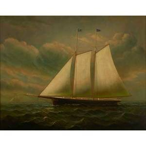 Nautical painting 20th c oil on canvas of a sailing ship framed signed d taylor 18 x 24