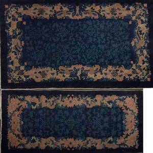 Chinese rugs two area rugs with similar floral design on blue ground early 20th c larger 59 x 36 12