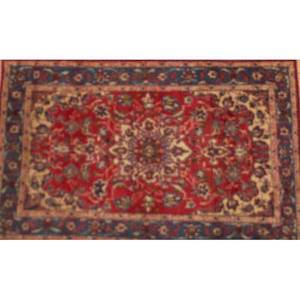 Oriental rug group four 20th c all with red background and blue decorations 20th c largest 62 x 39