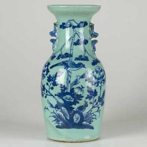 Chinese porcelain blue and white vase decorated with woodland scene 20th c 16 12 x x 7