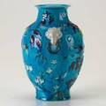Chinese majolica glazed ceramic vase with floral decoration and butterflies 19th20th c impressed mark 10 14 x 6 12
