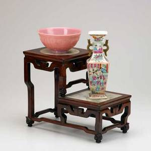 Asian three pieces 19th20th c peking glass bowl famille rose vase and twotiered wooden stand with marble insets unmarked tallest 11