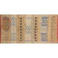 Abstract design area rug geometric hand loomed 20th c 104 x 55