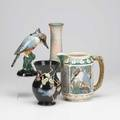 Weller four pieces zona kingfisher pitcher rosemont vase brighton king fisher and lart nouveau vase all marked tallest 8