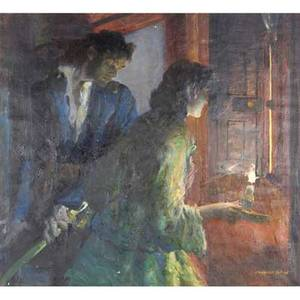 Leland r gustavson american 18941966 oil on canvas of two people with a candle framed signed 30 14 x 33 14