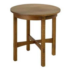 Stickley by audi contemporary lamp table late 20th c quartersawn oak and oak veneer brandedmetal tag 26 14 x 26 dia