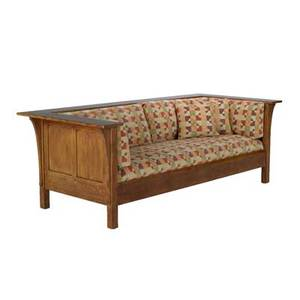 Stickley by audi contemporary prairie settle late 20th c quartersawn oak oak veneer and chenille upholstery branded markmetal tag 29 12 x 84 12 x 37 12