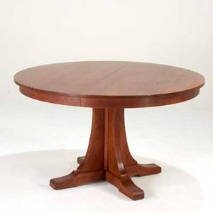 Stickley by audi contemporary pedestal dining table with shoe feet and two 15 leaves late 20th c quartersawn oak and oak veneer 30 12 x 54 dia
