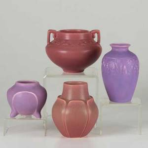 Rookwood four production vases two with plum glaze 19191920 and two in purple glaze 19281930 all marked tallest 5 12