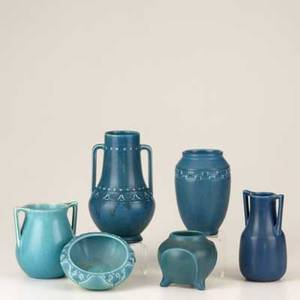 Rookwood six production vessels in blue glaze 19211928 all with impressed marks tallest 7