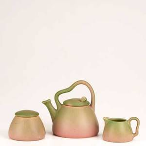 Rookwood threepiece production tea set1917 teapot creamer and sugar in pink and green glaze impressed flame mark xvii770 teapot 6 12
