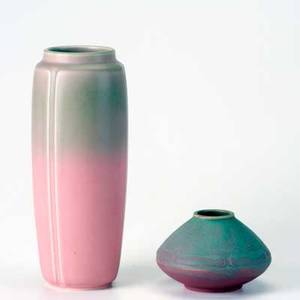 Rookwood two production vases in matte pink and green 1912 359 and 1926 2934 flame marks larger 10 12 x 4 12