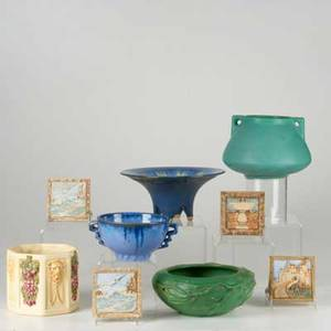 American art pottery nine pieces two fulper bowls in blue flambe peters and reed low bowl weller roma planter matte green handled vase and four claycraft tiles tallest 6