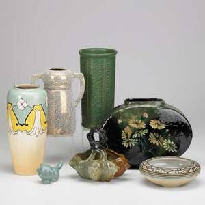 American art pottery seven pieces wheatley pillow vase avon basket swastika keramos doublehandled vase weller matte green vase brush mccoy cleo vase van briggle kitten and stoneware low bowl