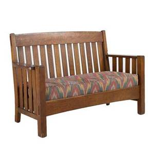 Cortland droparm settee early 20th c quartersawn oak flame stitch upholstery on dropin spring seat unmarked 37 12 x 61 x 26