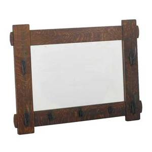 Stickley bros hall mirror with seven hooks early 20th c quartersawn oak and iron quaint metal tag 31 12 x 43