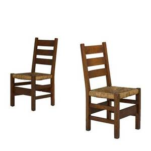 Gustav stickley pair of ladderback side chairs early 20th c quartersawn oak rush seats red compass mark each 37 12 x 18 x 20