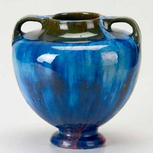 Fulper large twohandled vase in chinese blue flambe over famille rose mat raised mark 9 x 9