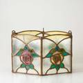 Leaded glass shade sixsided shade with roses 8 x 14