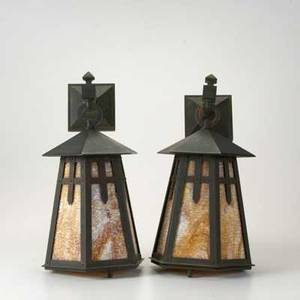 Arts  crafts lighting pair of paneled patinated copper and slag glass hanging lanterns unmarked 18 x 9 x 12