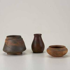 George ohr three bisquefired vessels two bowls and one vase larger bowl with incised script signature the others stamped tallest 3 34
