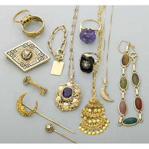 Collection of gold jewelry 18801970 victorian enameled 14k yg mourning brooch 1 34 arts  crafts 14k yg amethyst necklace with chain 17 pendant 1 18k yg vegetal band size 9 14k yg o