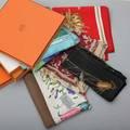 Hermes paris and gucci silk scarves five scarves 3 hermes paris quai aux fleurs 34 square ludovicus magnus 34 square fleurs de lotus 35 square in original boxes 2 gucci one wit
