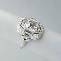 Art deco platinum diamond dress ring ca 1930 hand constructed cushion shaped setting centers fine oec diamond approx 80 cts and calibrated cut diamonds approx 70 cts tw in symmetric design