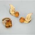 Orange citrine 14k rose gold jewelry ca 1970 foliate ear clips by marchal jewelers 1 12 rectangular step cut citrine in constructed ring 20mm x 155mm size 7 191 dwt 297 gs