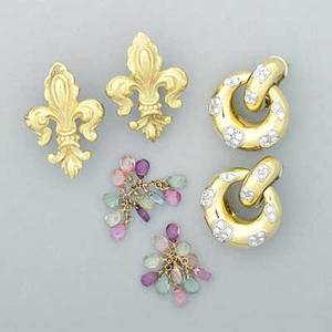 Three pairs of yellow gold earrings ca 1990 italian 18k door knockers with white gold and diamonds 14k fleur de lys with removable multihue tourmaline fringe diamonds 14 cts tw 303 dwt 4