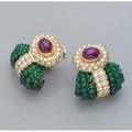 Diamond and ruby earrings with emeralds italy ca 1985 18k yg in passementerie style oval cabochon ruby each 35 cts by formula brilliant cut diamonds approx 35 cts tw strung emerald bead