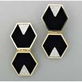 Geometric onyx diamond 18k ear clips ca 1980 attributed to wander inc hinged octagonal panels inset with pave diamond 30 ct tw triangles unmarked in wander case 226 dwt 351 gs 2