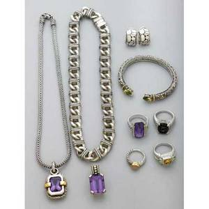 Designer collection of sterling jewelry eleven pieces including david yurman cable and shiplink necklace david yurman ring with amethyst and diamond david yurman sunstone with 18k accents judith