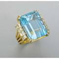 Brazilian aquamarine diamond 18k ring retailed by h stern apparently unmarked rectangular stepcut aquamarine 248 cts by formula and baguette cut diamond double row shoulders approx 12 cts