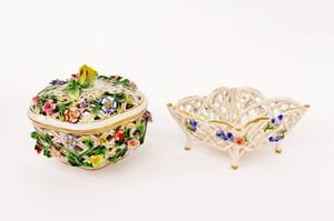 Two Dresden Reticulated Dishes