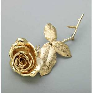 Large 14k yellow gold rose brooch ca 1960 life size and realistically rendered in full relief 312 dwt 486 gs 3 34