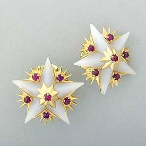 Jean schlumberger for tiffany  co star earrings ca 1958 18k yg with carved white chalcedony stars and ruby cabochon accents clip backs for unpierced ears marked tiffany  co schlumberger fr