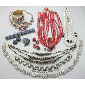Collection of costume jewelry 20th century french paste necklace pink champagne and colorless rhinestones with similar belt possibly chanel hobe hinged gilt cuff and necklace set with shaded pu