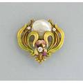 Art nouveau enameled gold watch pin krementz ca 1905 iris and foliage with three accent diamonds and buttonshaped river pearl hinged pendant bail and hook fitting marked 14k and trademark 53