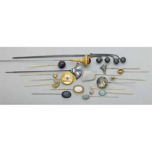 Collection of stick pins hat pins gold and silver 18901930 shakudo insect and crystal carved opal indian chief reverse tinted crystal ward steamship line opals amethyst labradorite cats ey