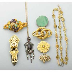 Victorian jewelry collection french 18k and steel chatelaine clip french 18k and diamond brooch french 18k link necklace in the roman style rococo gemset gold brooch 19k jade brooch sloan 14k l