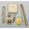 Tiffany  co and other victorian gold jewelry six pieces include tiffany  co enameled fetter link lorgnette chain fringe pendant with pin locket with split pearls oval brooch with taille depar