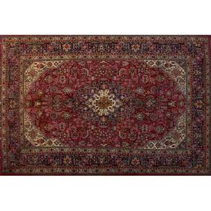 Persian tabriz oriental rug red center medallion with all over floral design 20th c 82 x 118