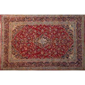 Persian kashan oriental rug red center medallion on blue ground with all over floral decoration ca 1970 105 x 139
