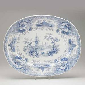 English staffordshire platter transferdecorated with an asian landscape early 19th c signed cavendish 21 12 x 17 14 x 2