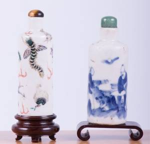Cylindrical Chinese Porcelain Snuff Bottles Two